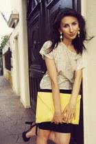 sequined H&M blouse - asos purse - H&M earrings - pencil H&M skirt