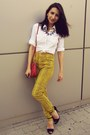White-h-m-shirt-red-leather-thrifted-bag-yellow-snake-print-thrifted-pants