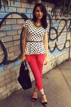 peplum Orsay top - Zara bag - Zara sandals - H&M pants