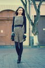 Studded-zara-boots-thrifted-dress-quilted-asos-purse-skull-bone-necklace