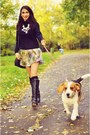 Black-riding-zara-boots-periwinkle-silk-bsb-dress-black-quilted-asos-purse