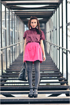 black Zara bag - magenta Pimkie top - black Zara sandals - hot pink Zara skirt