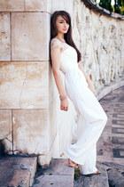 white Alexandra Calafeteanu romper - neutral nude Zara sandals