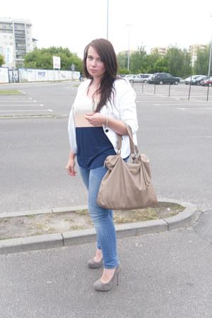 heather gray Zara shoes - white reserved jacket - camel Stradivarius bag