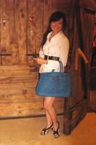 Executive blouse - random brand shorts - Nyla belt - Hermes purse - VIncii shoes