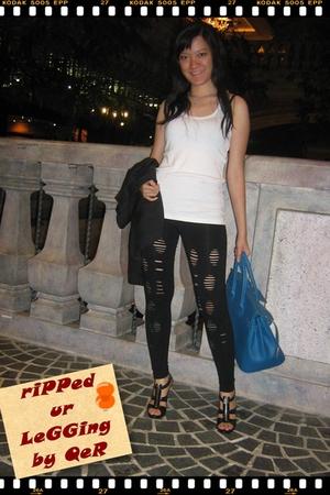 Public Affair top - Gaudi leggings - Accent blazer - Hermes purse - Charles & Ke