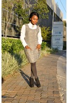 heather gray Ques Boutique dress - black Zoom boots