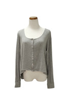 silver scoop neck QiCashmere top