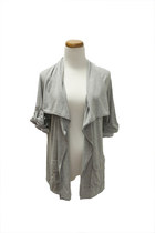 heather gray pocket QiCashmere cardigan
