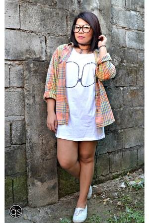 nerd glasses - white H&M shoes - tshirt dress - checkered Esprit sweatshirt