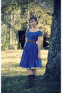 Blue-1950s-dress-brown-1970s-belt-brown-frye-boots