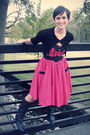 Red-modcloth-dress-black-vintage-boots