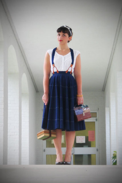 white thrfited blouse - blue vintage 1950s skirt - Walmart shoes