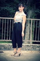 blue thrifted blouse - black thrifted pants - silver seychelles shoes