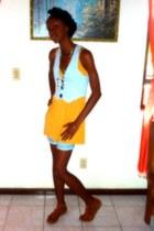 mustard blouse - light blue vest - tawny sandals