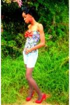 light blue shorts - red heels