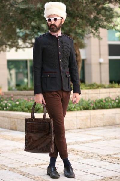 Zara blazer - faux fur Urban Outfitters hat - Zara shirt - cotten Topman pants
