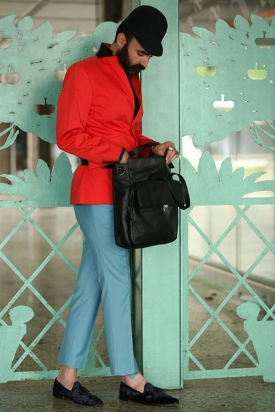 light orange H& blazer - black Zara bag - aquamarine pants