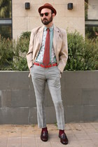 camel seco blazer - heather gray ben sherman pants - brick red second hand tie