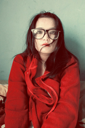 red cardigan - charcoal gray glasses