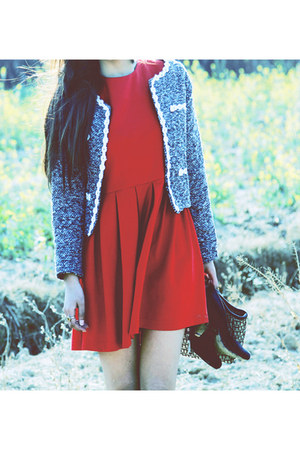 red plain dress - heather gray blazer