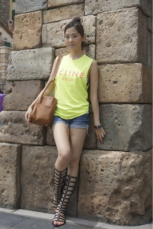 blue denim shorts SLY jeans - camel lindy Hermes bag