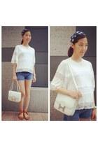 white constance bag bag - white lace cotton top top