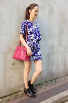 blue floral skirt 33 Field Trip skirt - black ankle boots Zara boots
