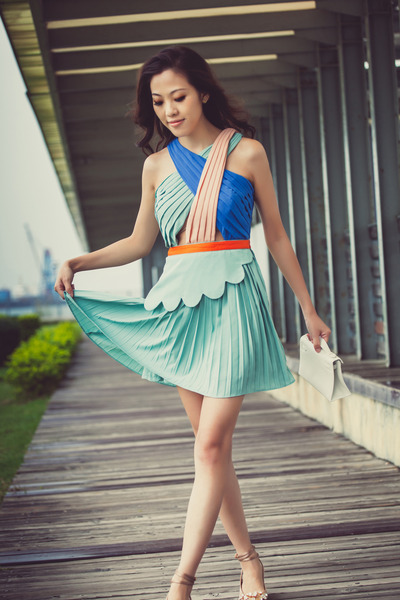 aquamarine swift dress Three Floor dress - white kelly clutch Hermes bag