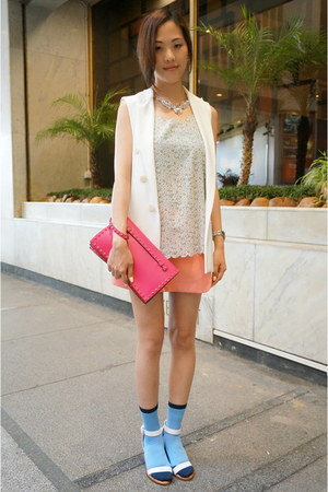 bubble gum Prada skirt - white waistcoat Zara blazer