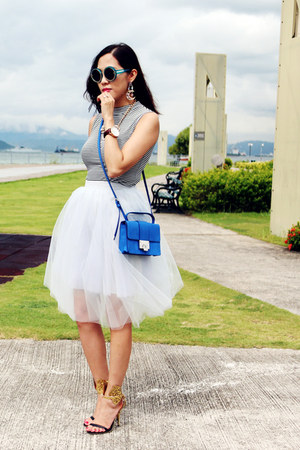 silver tulle tulle snidel skirt - blue rebel Jimmy Choo bag