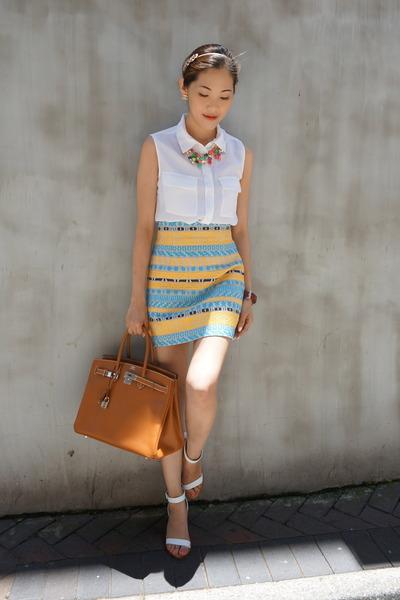 yellow Zara skirt - bronze birkin Hermes bag