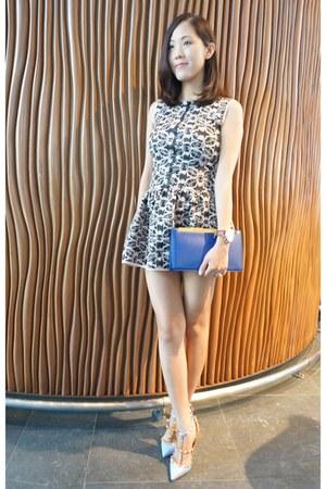 blue clutch Saint Laurent bag - light pink mini dress Maje dress
