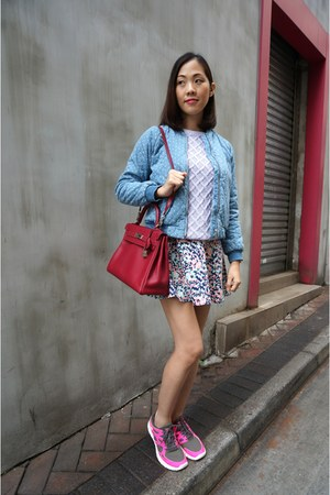 sky blue Gap jacket - periwinkle Zara sweater - ruby red kelly bag Hermes bag
