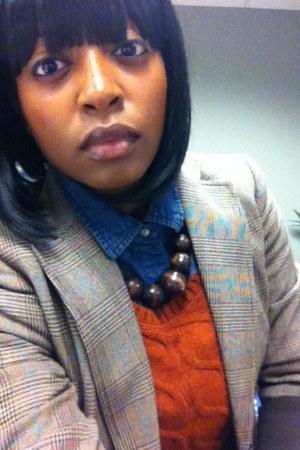 cable knit Zara sweater - plaid blazer - denin button up shirt