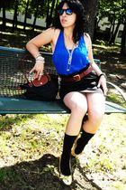 blue Forever 21 blouse - black INC skirt - brown vintage belt - gold Ebay shoes