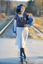 blue Thrifted Gap jacket - charcoal gray Forever 21 tights - silver skirt