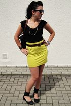 black Forever 21 top - yellow H&M skirt - brown vintage belt - black unknown sho