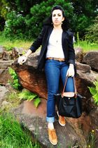 black casual corner blazer - white Mudd t-shirt - blue Forever 21 jeans - black
