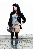 black casual corner blazer - gray H&M t-shirt - beige merona shorts - gray unkno