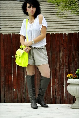 white top - charcoal gray boots - lime green bag - silver shorts