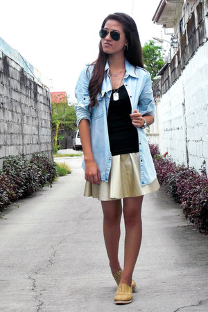 denim Choies blouse - leather Choies skirt