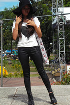 glittery romwe leggings - floppy Choies hat - heart romwe top
