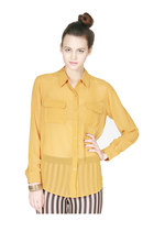 Yellow Chiffon Button Up Blouse