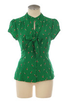 Green Cherry Print Neck Tie Blouse