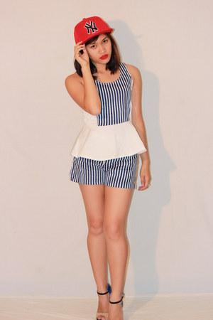 blue stripes Redhead shorts - blue stripes Redhead top