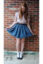 light pink floral thrift blouse - sky blue thrift skirt