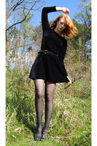 black velvet thrift dress - black chevron thrift tights