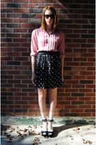 white polka dot thrift skirt - peach Gap socks