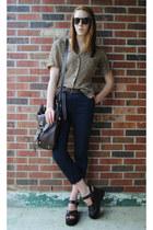 dark brown platform thrifted sandals - dark brown satchel NYC bag